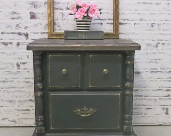 Nightstand, Distressed Black Cottage Style -NS201- Shabby Vintage Farmhouse Chic, French Country