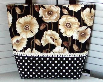 Oriental POPPIES TOTE BAG Brown/Tan/Cream Purse Mini Tassel Trim Medium Handbag Diaper Bag
