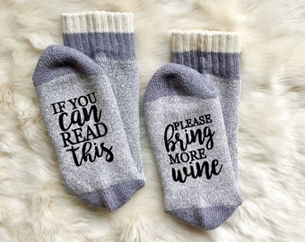 Wine Socks  Mothers Day Mom Bring Me Wine  If You Can Read This Bring Me Wine Gift Funny Gift  Humor Gift  Wine Gift Girlfriend