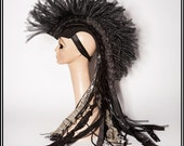 Warrior of the Desert… Mohawk in Black With Deconstructed Ruffles and Dark Silver Accents Headdress Mad Max