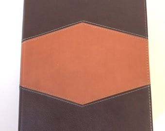 Brown and Bronze Diamond Blank Leather Journal