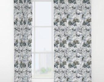 Hydrangea window curtain, floral window curtains, flower design curtain, powder blue drapes, hydrangea curtain panel, gray window treatment