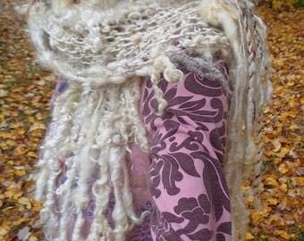 hand knit art yarn wool silk enchanted forest faerie scarf - snowy owl scarf