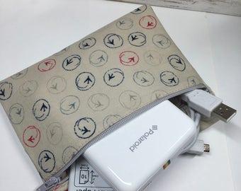 100% Cotton Zipper Travel Pouch for Polaroid Zip Printer