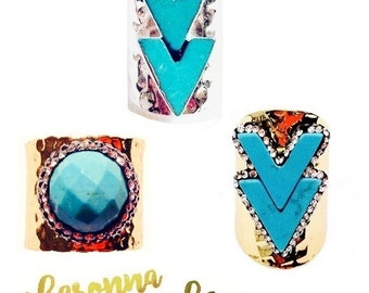 Choice Turquoise Howlite Ring Chevron V Adjustable Hammer Pave Zircon Crystal Gold Plated Cigar Band Large Wide Cuff Chunky Boho Chic Silver