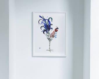 Rooster Limited Edition Farm Art Print from Original // Home Decor Chicken Barnyard Bird //13 x1 9, 11 x 14, 8 x 10