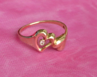 Bezel Set Diamond Heart Ring, solid 14K Y Gold, size 4.75, free US first class shipping on vintage items
