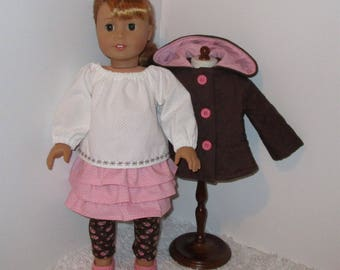 """Brown and Pink 4-Piece Jacket Set, Fits 18"""" Dolls // AG Doll Jacket, American Girl Jacket, Doll Skirt and Blouse, Leggings, Doll Jacket Set"""