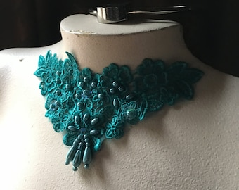 TEAL Beaded Lace Applique for Lyrical Dance, Jewelry or Costume Design CA 755tl2