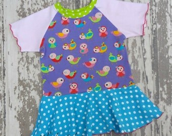 Spring Chicks Peplum Top - You Choose Size - great for easter, spring and summer, spring chicks birds, shirt pastel church