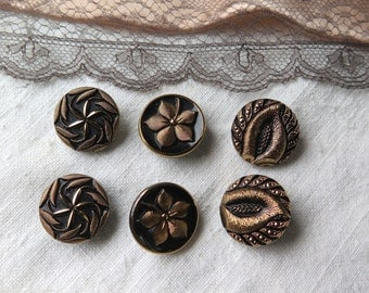 Black Glass Buttons by Le Chic with Gold Set of Six Mix and Match Czech Glass Buttons