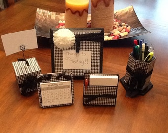 5 Piece Houndstooth Desk Set. Office desk, Desk set, houndstooth. In stock ready to ship