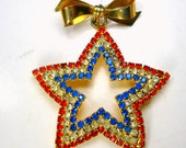 Patriotic Rhinestone Star Pin, Red White and Blue Brooch, 1980s All Glass Prong Set Stones on Gold, Star Dangles from a Gold Bow Bar Pin