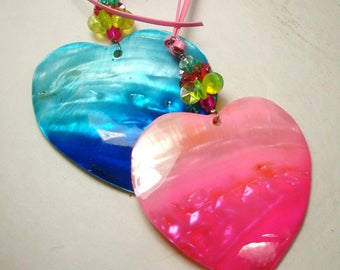 Shell Heart Pendant, Hot Pink Heart Pendant, ONLY the PINK  Valentine Heart, Mother of Pearl, Mod, MOP, Large Pendant,