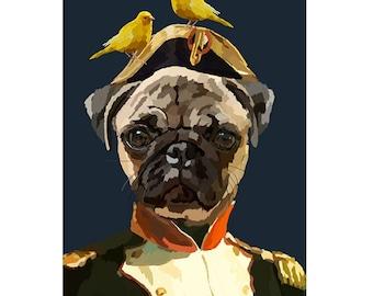Pug Portrait Print Pet Painting Dog Print Digital Painting  Nursery Decor Art Animal Wall Decor Home Decor Poster Christmas Gift bird