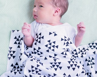 Stacked Triangles Swaddle Blanket - Stretchy Jersey Knit Swaddle for Baby Boy or Girl