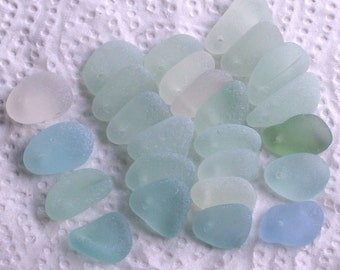25 Sea Glass Beads Top Drilled 1.5mm holes Jewellery Quality Supplies (1973)