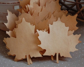 Large Tea Stained Paper Leaves-Set of 15 Leaves-Escort Card-Place Card-Wedding Wish Tree-Nature-Rustic-Barn-Vintage-Country-Ready to Ship