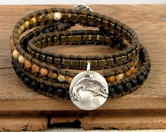 Wrap Bracelet with Leaping Trout