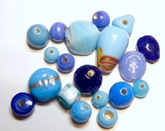 DESTASH -- 19 Assorted Opaque Lampwork Glass Beads: Shades of Blue --- 3M