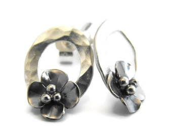 Silver Oxidised Buttercup stud earrings on small hoop circle