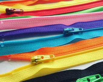 YKK Separating Zipper Sampler Set- 3mm lightweight zippers - 10pcs- rainbow colors- Available in 6, 7, 10 and 14 inches