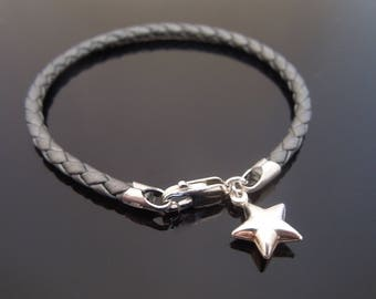 3mm Metallic Grey Braided Leather Bracelet With 925 Sterling Silver Puffed (Seamed) Star Charm