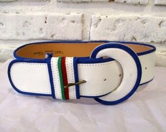 wide blue belt etsy