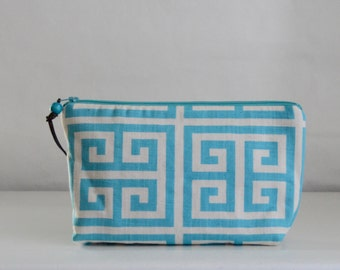Towers Blue Wide Padded Zipper Pouch Gadget Case Cosmetics Bag - READY TO SHIP