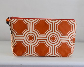Rust Ginseng Tiles Wide Padded Zipper Pouch Gadget Case Cosmetics Bag - READY TO SHIP