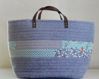 Blue Chambray Quilted Market Tote Bag - READY TO SHIP