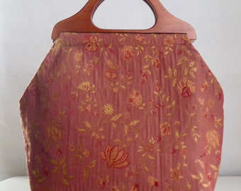 Muted Red Botanical Large Craft Project Tote/ Knitting Tote Bag - READY TO SHIP