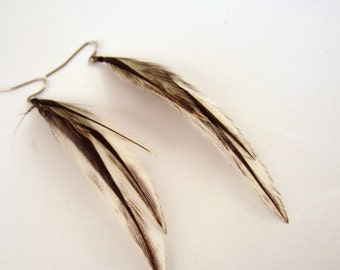 cruelty free Feather Earrings natural Badger