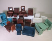 """Vintage Miniature Dollhouse Furniture - 5 Rooms of mostly Donna Lee - 3/4"""" Scale"""