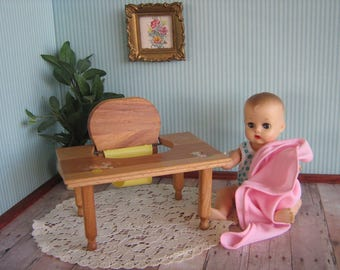 Vintage Doll Furniture- Strombecker Baby Tender With Nursery Rhyme Decals - Play Scale