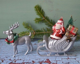 Vintage Hard Plastic Santa Claus Sleigh Reindeer Christmas Ornament Lot