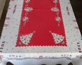 Christmas Print Tablecloth Vintage 1950s Merry Christmas Noel Cotton Rectangle 54 by 100 Inches