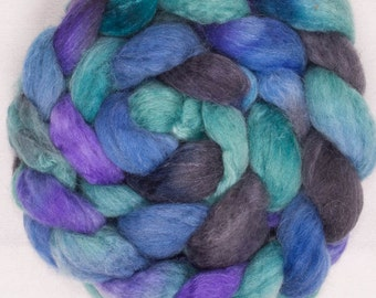 Hand painted spinning fibre, Luxury blend, Baby Alpaca, BFL, Tussah Silk, British Shetland, fibre, roving, spin, felt, Soulful