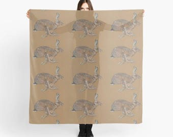Racing Hare, Luxuray Digitally Printed Art Scarf