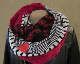 Queen of Hearts Inspired Circle Scarf with velvet