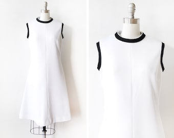 white mod dress, vintage 60s mod dress, mod ringer dress, medium large