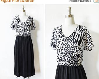 50% OFF SALE vintage 80s leopard print dress, black and white large dress, animal print dress,