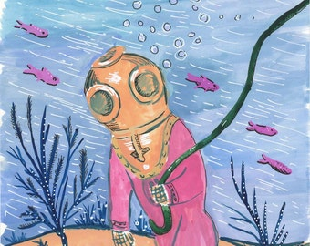 Deep Sea Diver, Diving Suit Painting, Original Illustration, Gouache painting, Scuba diver
