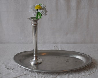Sterling Silver Bud Vase With Small Pewter Tray/Vintage c. 1950s/Valentine Presentation Tray
