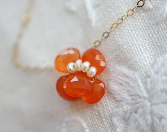 Gold Necklace Orange Viola 14k Gold Filled