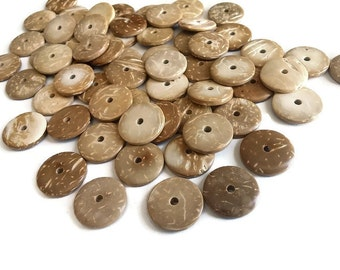 25 Donuts coconut wood beads natural colors 17mm