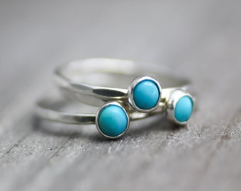 Turquoise Ring, Turquoise Stack Ring, Sterling Silver, Womens Ring, Hammered Ring, Silver Band, Turquoise Stack Ring, Boho Turquoise Ring