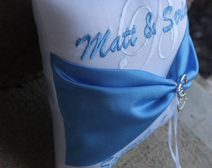 Wedding Ring Bearer Pillow Personalized Monogrammed Custom Wedding Decor Design Your Own Double Heart Charm Accent Capri Blue Wedding