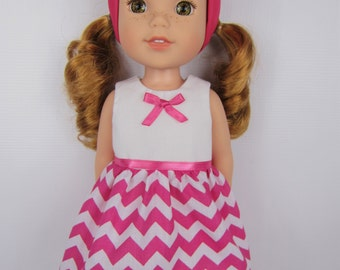 14.5 inch doll clothes, Pink chevron doll dress with headband, 14.5 inch doll dress, handmade doll clothing, fashion doll dress