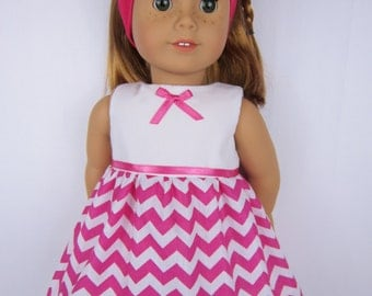18 inch doll clothes, Pink chevron doll dress with headband, 18 inch doll dress, handmade doll clothing, fashion doll dress